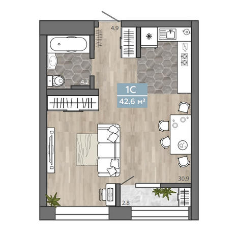 Вариант №3107, 1-комнатная квартира в жилом комплексе