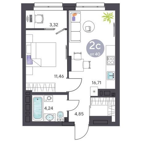 Вариант №5426, 2-комнатная квартира в жилом комплексе