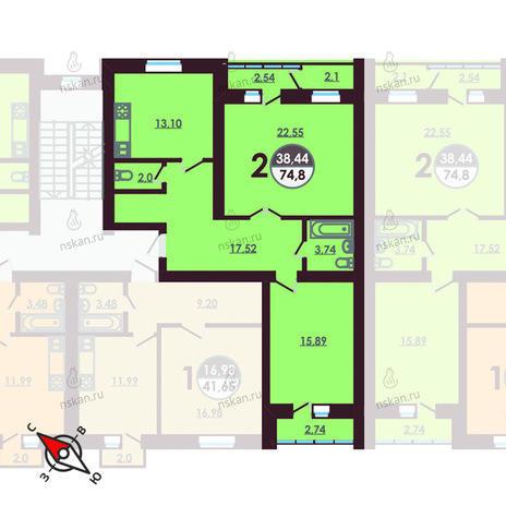 Вариант №422, 2-комнатная квартира в жилом комплексе Ключевой