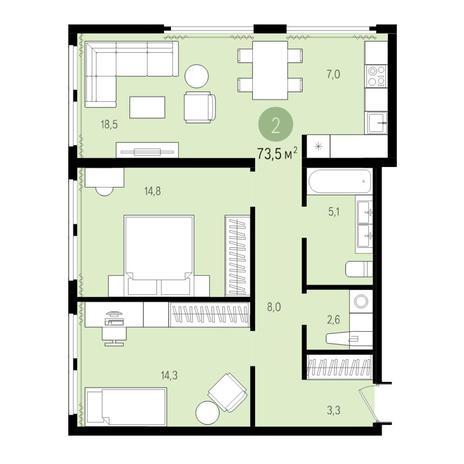 Вариант №5022, 3-комнатная квартира в жилом комплексе Пшеница