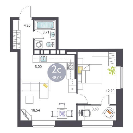 Вариант №3369, 2-комнатная квартира в жилом комплексе