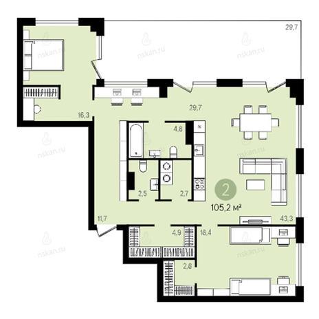 Вариант №2639, 3-комнатная квартира в жилом комплексе Квартал на Никитина