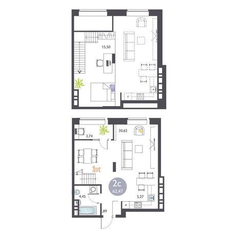 Вариант №3372, 2-комнатная квартира в жилом комплексе