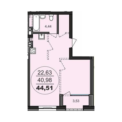 Вариант №3708, 2-комнатная квартира в жилом комплексе