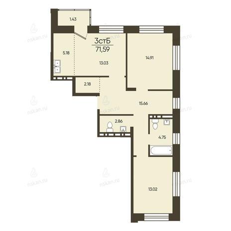 Вариант №2579, 3-комнатная квартира в жилом комплексе