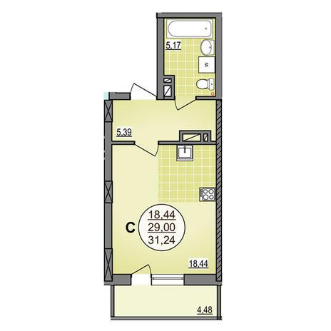 Вариант №3884, 1-комнатная квартира в жилом комплексе Гурьевский