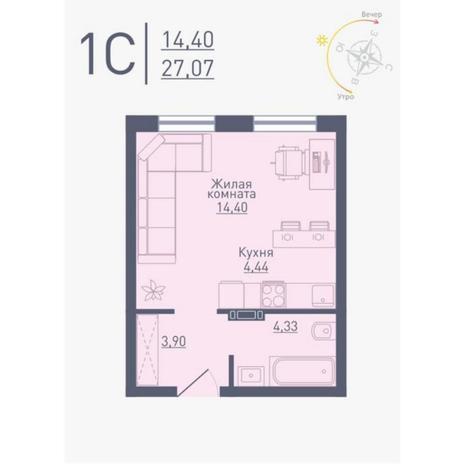 Вариант №4787, 1-комнатная квартира в жилом комплексе