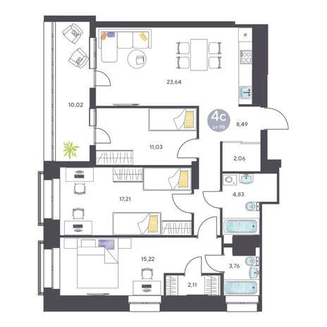 Вариант №5124, 4-комнатная квартира в жилом комплексе Маяк