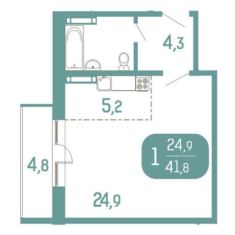 Вариант №2909, 1-комнатная квартира в жилом комплексе Приозерный