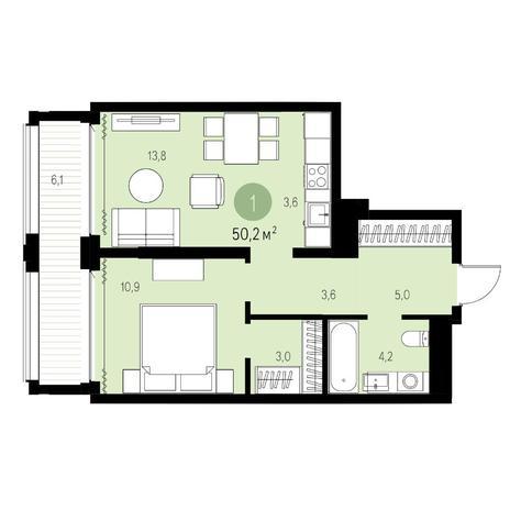 Вариант №5449, 2-комнатная квартира в жилом комплексе