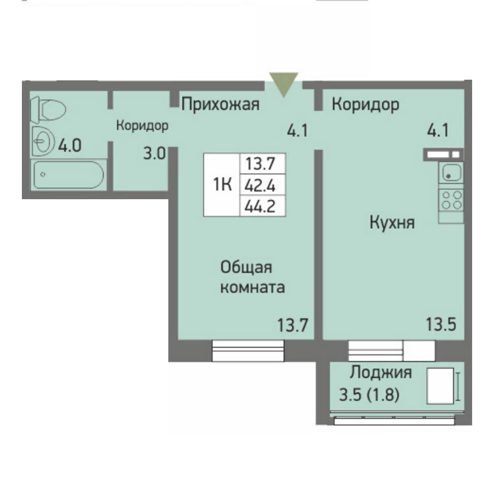 Планировка 1-комнатная площадью 44.2 м<sup>2</sup> в ЖК Акварельный 3.0