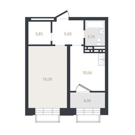 Вариант №3328, 1-комнатная квартира в жилом комплексе