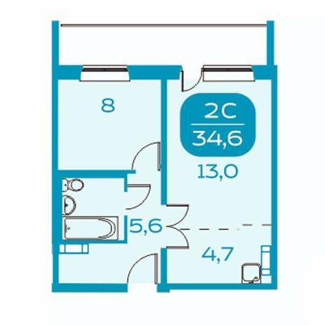 Вариант №4384, 2-комнатная квартира в жилом комплексе Аквамарин