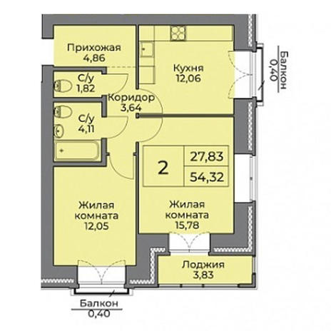 Вариант №3535, 2-комнатная квартира в жилом комплексе