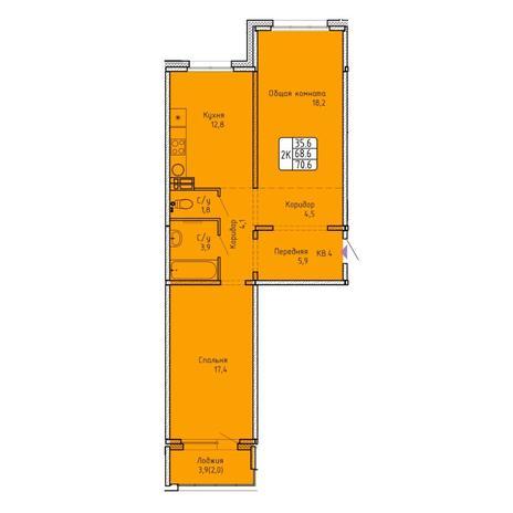 Вариант №5751, 2-комнатная квартира в жилом комплексе Чистая Слобода