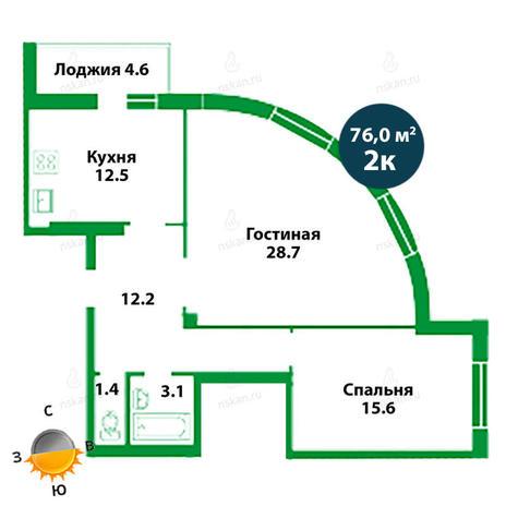 Вариант №1505, 2-комнатная квартира в жилом комплексе Театральный
