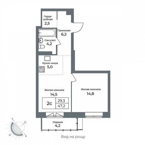 Вариант №5611, 2-комнатная квартира в жилом комплексе Эскимо