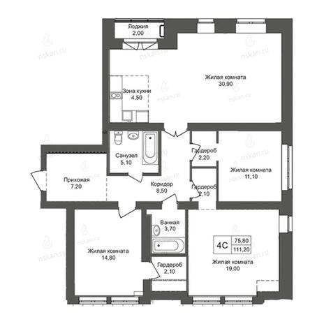 Вариант №2769, 4-комнатная квартира в жилом комплексе Онега
