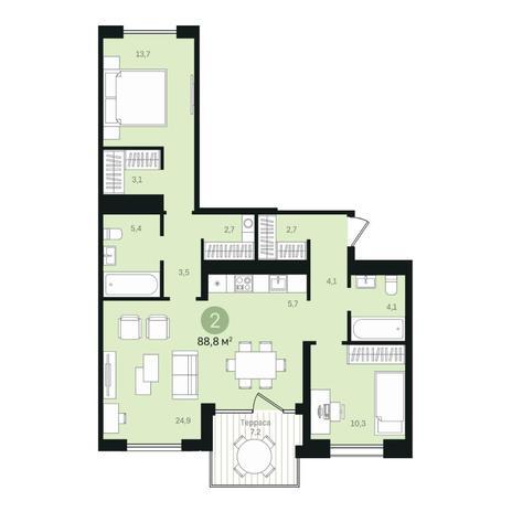 Вариант №6352, 3-комнатная квартира в жилом комплексе
