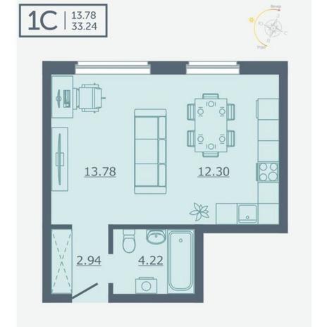 Вариант №4752, 1-комнатная квартира в жилом комплексе