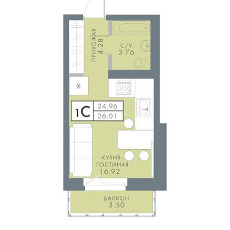Вариант №2820, 1-комнатная квартира в жилом комплексе Традиции