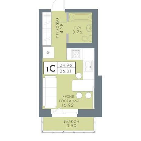 Вариант №2820, 1-комнатная квартира в жилом комплексе