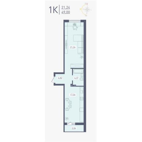 Вариант №4863, 1-комнатная квартира в жилом комплексе Радуга Сибири