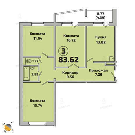 Вариант №2524, 2-комнатная квартира в жилом комплексе
