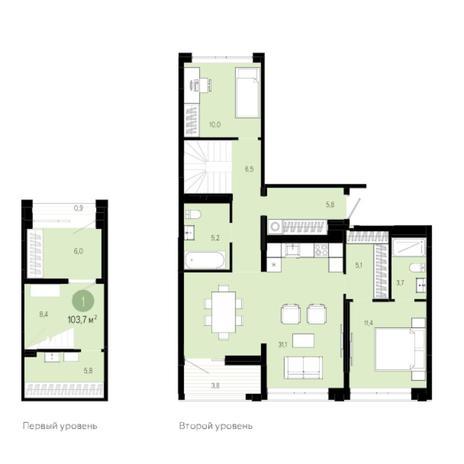 Вариант №6018, 3-комнатная квартира в жилом комплексе