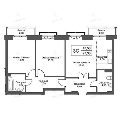 Вариант №2747, 3-комнатная квартира в жилом комплексе