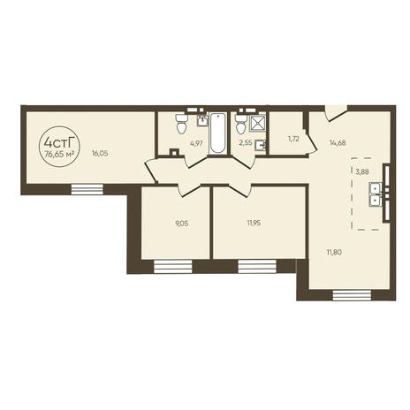 Вариант №3622, 4-комнатная квартира в жилом комплексе