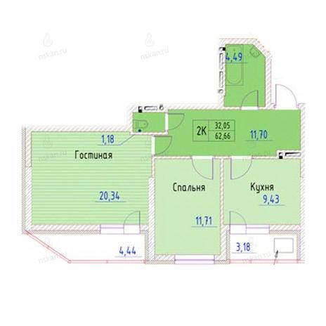Вариант №948, 2-комнатная квартира в жилом комплексе Беркут хаус