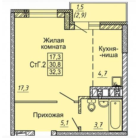 Вариант №4973, 1-комнатная квартира в жилом комплексе