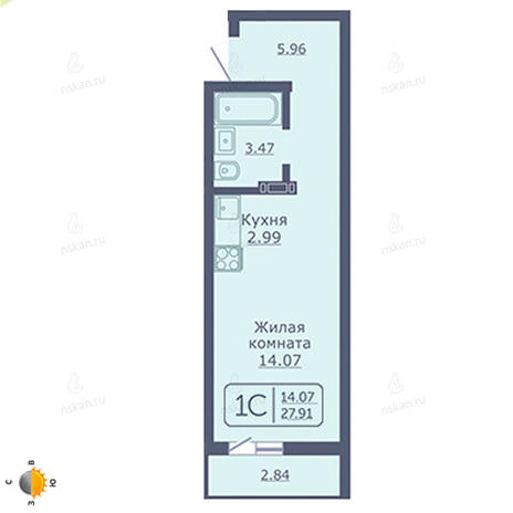 Вариант №2030, 1-комнатная квартира в жилом комплексе Радуга Сибири