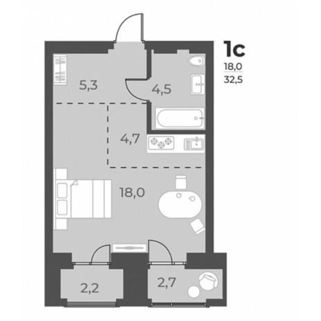 Вариант №5822, 1-комнатная квартира в жилом комплексе Я - Маяковский