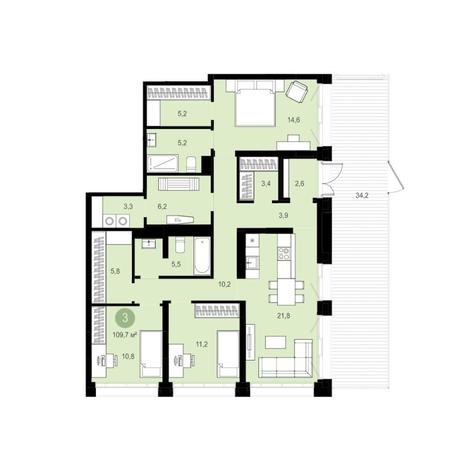 Вариант №6282, 4-комнатная квартира в жилом комплексе