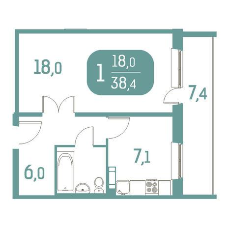 Вариант №2913, 1-комнатная квартира в жилом комплексе Приозерный