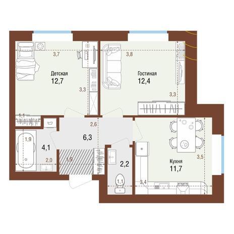 Вариант №4216, 2-комнатная квартира в жилом комплексе Акварельный 3.0