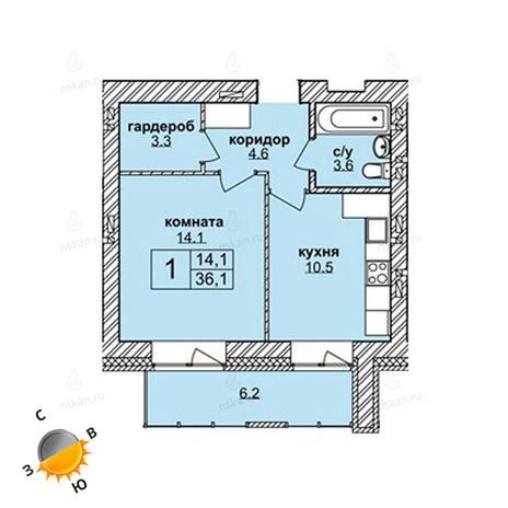 Вариант №1598, 1-комнатная квартира в жилом комплексе Северная корона