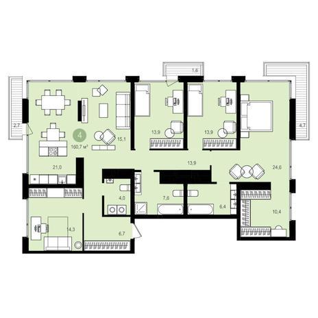 Вариант №4182, 4-комнатная квартира в жилом комплексе Жуковка