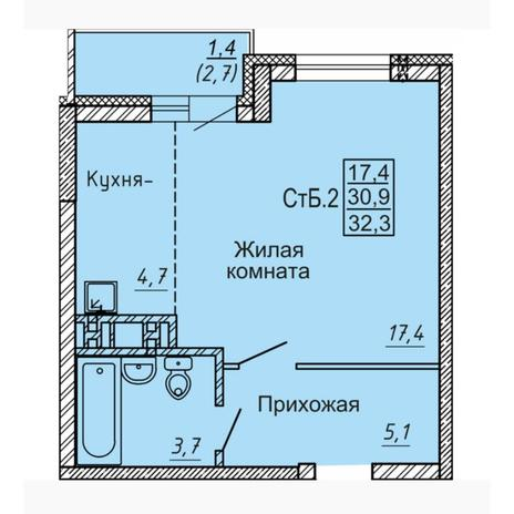 Вариант №4544, 1-комнатная квартира в жилом комплексе Акварельный 3.0