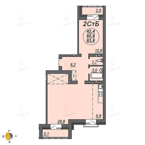 Вариант №2223, 2-комнатная квартира в жилом комплексе Свобода