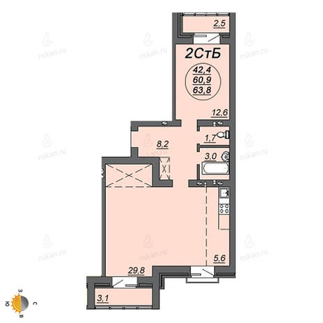 Вариант №2223, 2-комнатная квартира в жилом комплексе Венеция