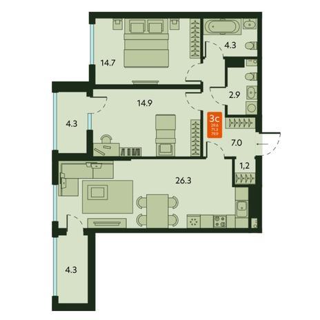 Вариант №6677, 3-комнатная квартира в жилом комплексе