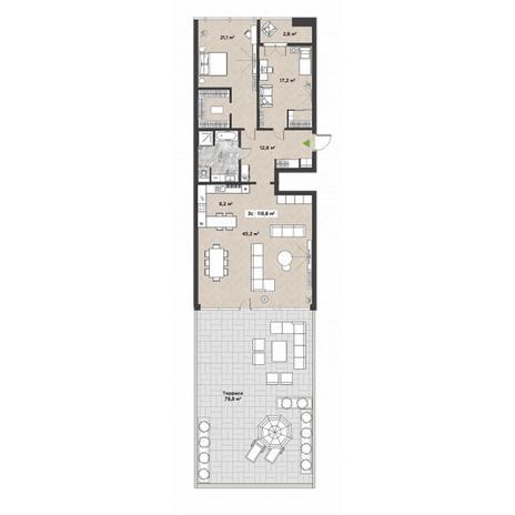 Вариант №5861, 3-комнатная квартира в жилом комплексе