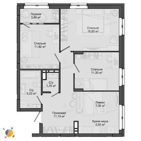 Вариант №2141, 4-комнатная квартира в жилом комплексе