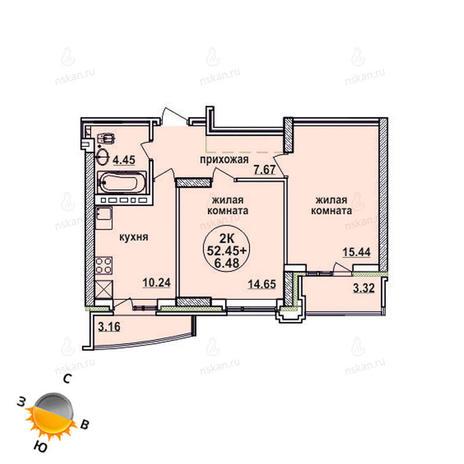 Вариант №863, 2-комнатная квартира в жилом комплексе Заельцовский