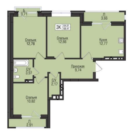 Вариант №5073, 3-комнатная квартира в жилом комплексе