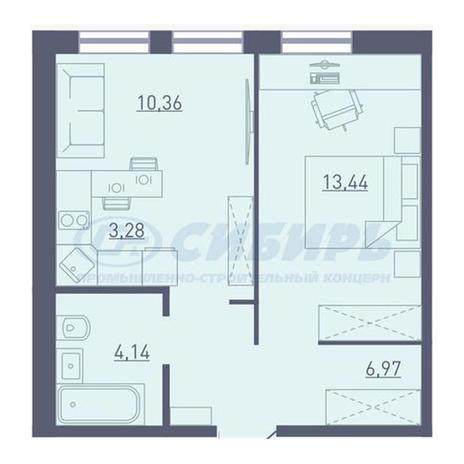 Вариант №3733, 2-комнатная квартира в жилом комплексе Акварельный 3.0