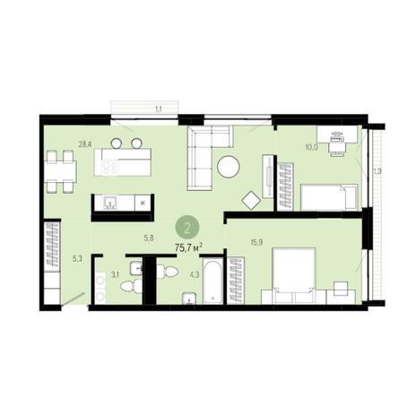 Вариант №6205, 3-комнатная квартира в жилом комплексе